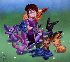 Commish - Ellie and her Babies by CaramelKitt