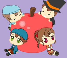 Professor Layton apple chibis by ZeldaKinz