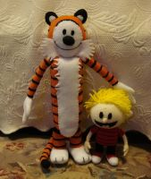 Custom plush - Calvin+Hobbes by silentorchid