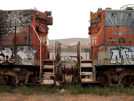Two Abandoned Locomotives by Azraphale