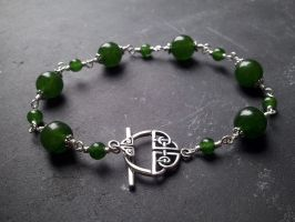 Green Jade Celtic Toggle Bracelet by QuintessentialArts