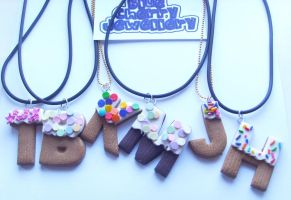 Cupcake Letter Necklaces by tyney123