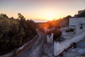 Santorini's sunrise road by JoInnovate