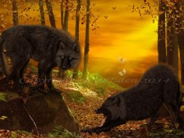 Wolves-in--atumn-woodland by JaneEden
