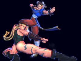 Cammy and Chun-Li by dcory