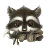 Raccoon portrait by Silverfox5213
