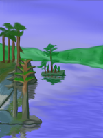 Waterscape Digital Painting Practice by Daghrgenzeen