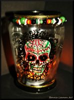 Day of The Dead Sugar Skull Candle Holder by Bonniemarie