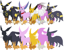 Ranch Eevees Size Comparison by CheezieSpaz