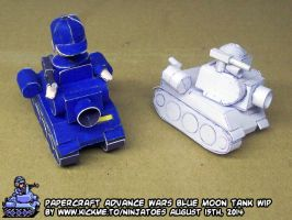 Papercraft Advance Wars Blue Moon Tank WIP5 by ninjatoespapercraft