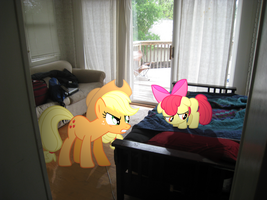 AJ telling Apple bloom off by Pangbot