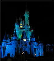 Castle at Night - Blue + green by WDWParksGal