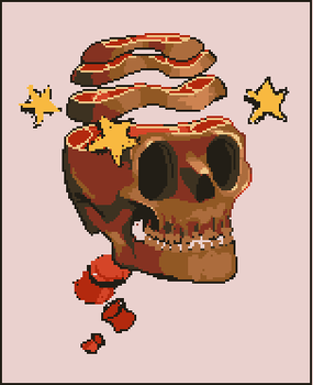 Meat Skull (unfinished) by skittlefuck