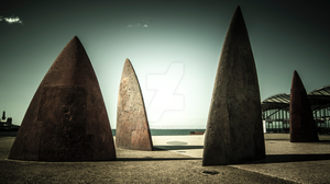 Shark Fins, Eastern Beach Waterfront by MattHrkac