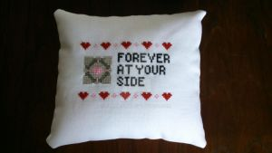 Portal pillow (front) by Clairtjow