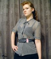 Houndstooth chiffon blouse by masque242