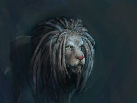 Doodle of the day - Lion with dreadlocks by Emoonya