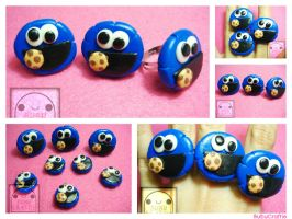 Cookie Monster Adjustable Rings V2 Collage by efeeha