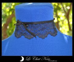 Lace Collar With Bow by LeChatNoirCreations