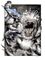 Shaak Ti vs the Rancor by DanielGovar