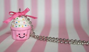 Pink kawaii cupcake necklace by jbphillips