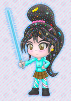 Vanellope lightsaber colored by MikariStar