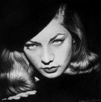 Lauren Bacall Watercolor Portrait by ClearlyDarkness
