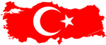 Turkiye flag on Map 6547 x 2798 by Jestemturk