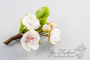 Brooch with a branch of cherry blossoms by polyflowers