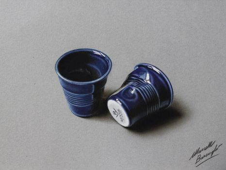 Pottery coffee cups DRAWING by Marcello Barenghi by marcellobarenghi