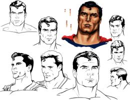 Superman Head Studies by Adobewan