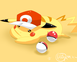 Pikachu With Reds Hat by AnimatorMX