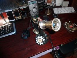 Steam-punk Candle Stick Phone by yellowbronco