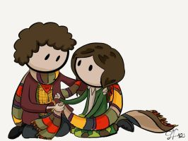 Cute Scarf - the Fourth Doctor and Sarah Jane by gnasler
