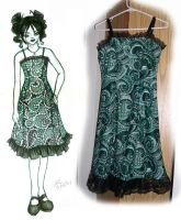 Black and green sun dress. by mrinx
