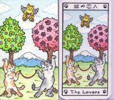 The Lovers Maneki Neko tarot by crokittycats