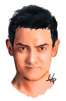 Painting Aamir 'Rancho' Khan by gizhel