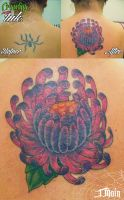 Spider Flower cover-up tattoo by JustinMain
