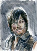 Daryl The Walking Dead Sketch Card by Stungeon