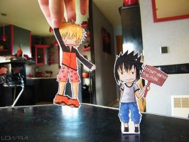 Naruto and Sasuke - Paperchild by MlleLowra