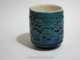 Pooling Blue Blossoms Tea Cup by skimlines