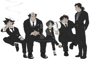 Saiyans in black suit by sumiru09