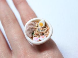 Ramen Bowl Miniature Ring by ChroniclesOfKate