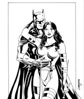 Batman and Elektra Inks by wardogs101