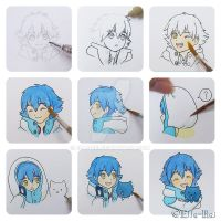 9 steps drawing Aoba by Elle-Rei