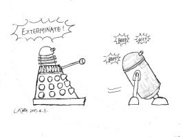 dalek meets R2D2 by katesw