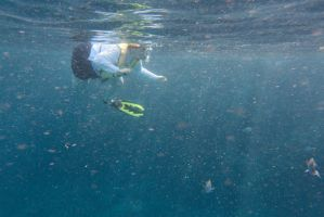 Pirates Cove, Snorkeler Watching by Miss-Tbones