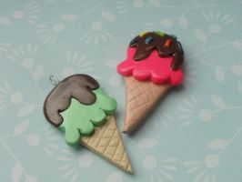 Kawaii Clay Ice Cream Cones by CraftyOlivia