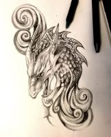 Dragon with Swirls by Lucky978