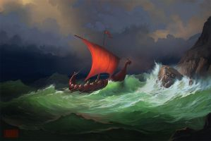 Boat in a Storm by RHADS